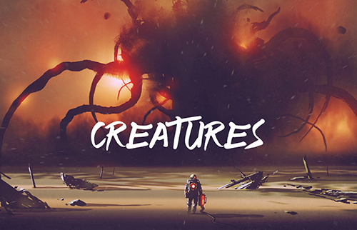 Creature sound effects, mythical creature roar and growl sounds, monster breathing and walking, footstep sound library