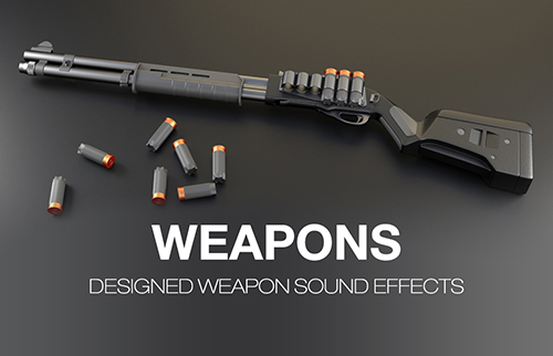 Weapon sound effects, shotgun, pistol, revolver, shooting sounds, realistic gun reload and charging, space weapons, machine gun and rifle sounds, automatic gun fire sound packs